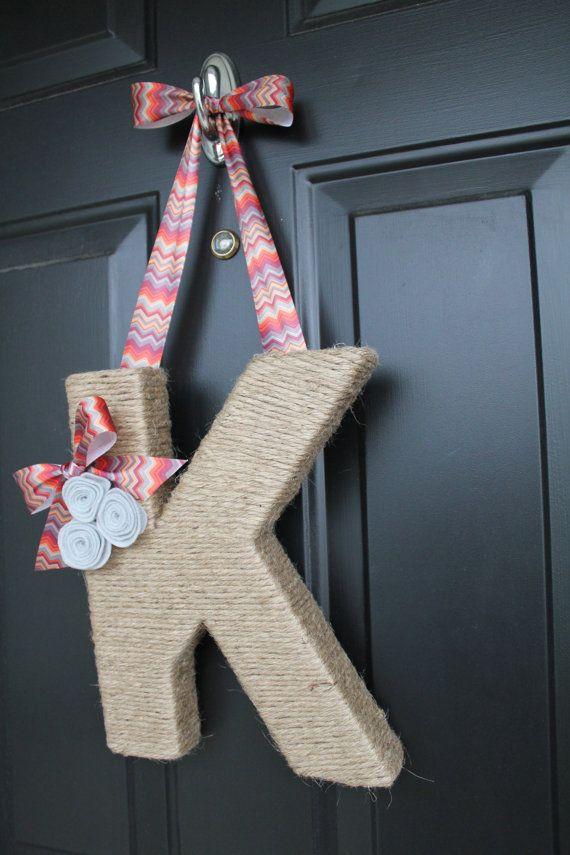 Chevron and Jute Monogram Wreath, Handmade Jute Letter