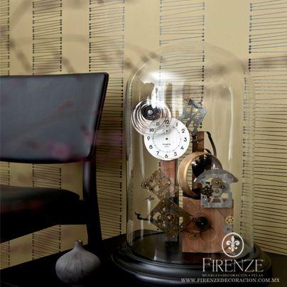 Papel Tapiz Firenze y accesorios #decoracion #hogar #sofa #tapiz #reloj