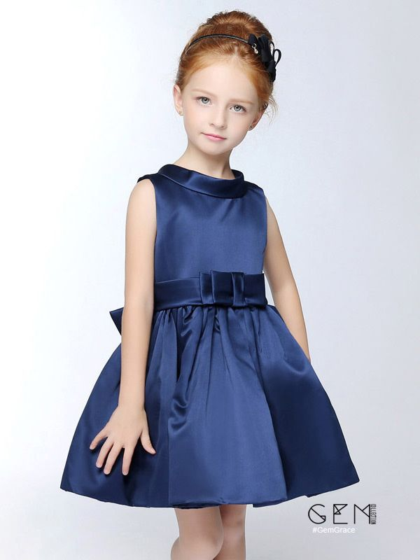 Navy Blue Simple Satin Short Collared Flower Girl Dress ...