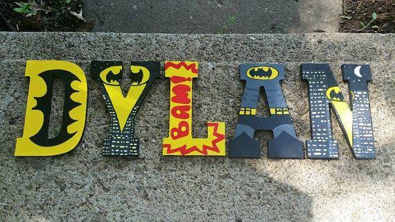 Wood Nursery Name Letters Batman/ 8 inch high by 6amwithAeri