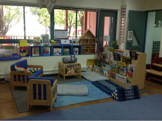 This reading area is big, offers many places to sit and read. I like how the books are displayed. You could add some more pillows, but I think they have a variety of comfy seating options available.