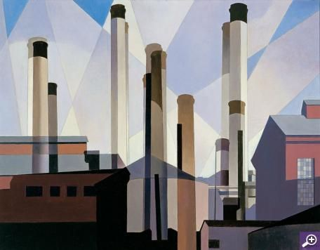 Charles Sheeler (1883 – 1965)  American  Stacks in Celebration, 1954  Oil on canvas  22 x 28 inches