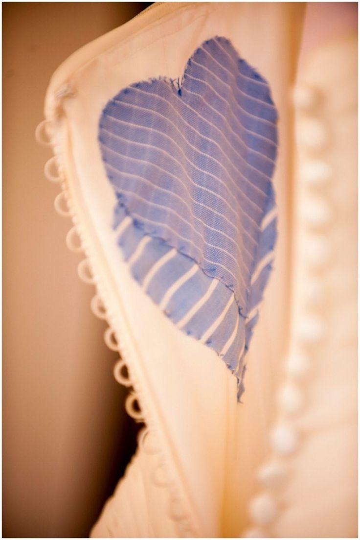 something blue idea, diy blue fabric stitched inside the wedding dress // photo by drew brashler photo