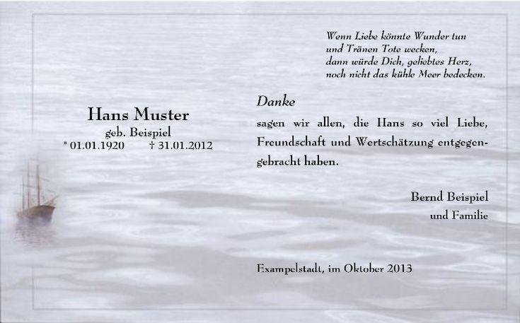 Das stimmungsvolle Bild dieser Trauerkarte wurde besonders für Seebestattungen kreiert.