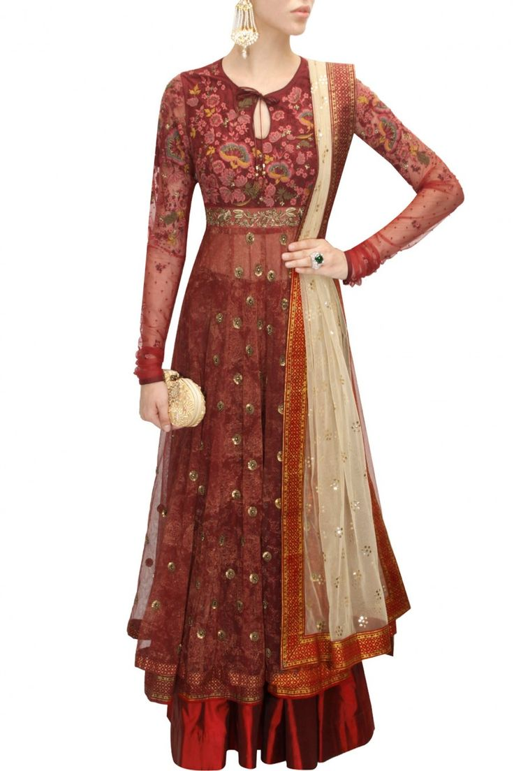 Maroon sequins and thread embroidered block printed anarkali set available only at Pernia's Pop-Up Shop.