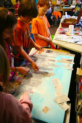 """Newspaper skyline, a Romare Bearden idea. Sweet for our school's urban landscape. And they're working collaboratively to boot! Use with a reading unit on """"Me and Uncle Romey""""."""