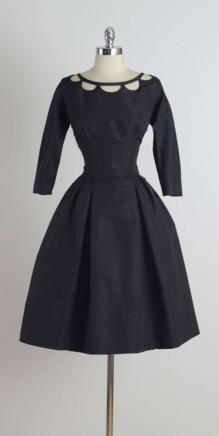 Vintage 1950s Nathan Strong Black Silk Dress: