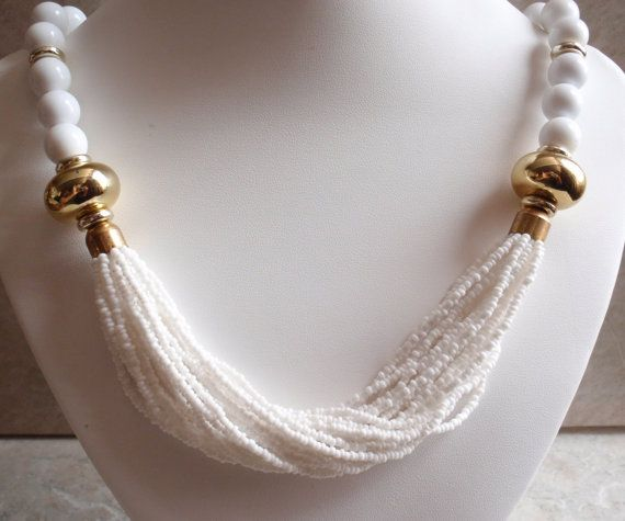 White Beaded Necklace Vintage Estate by cutterstone on Etsy, $19.00