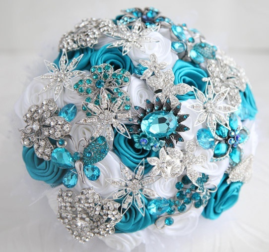 Teal Wedding Flowers Ideas: Brooch BouquetTeal White And Silver Wedding