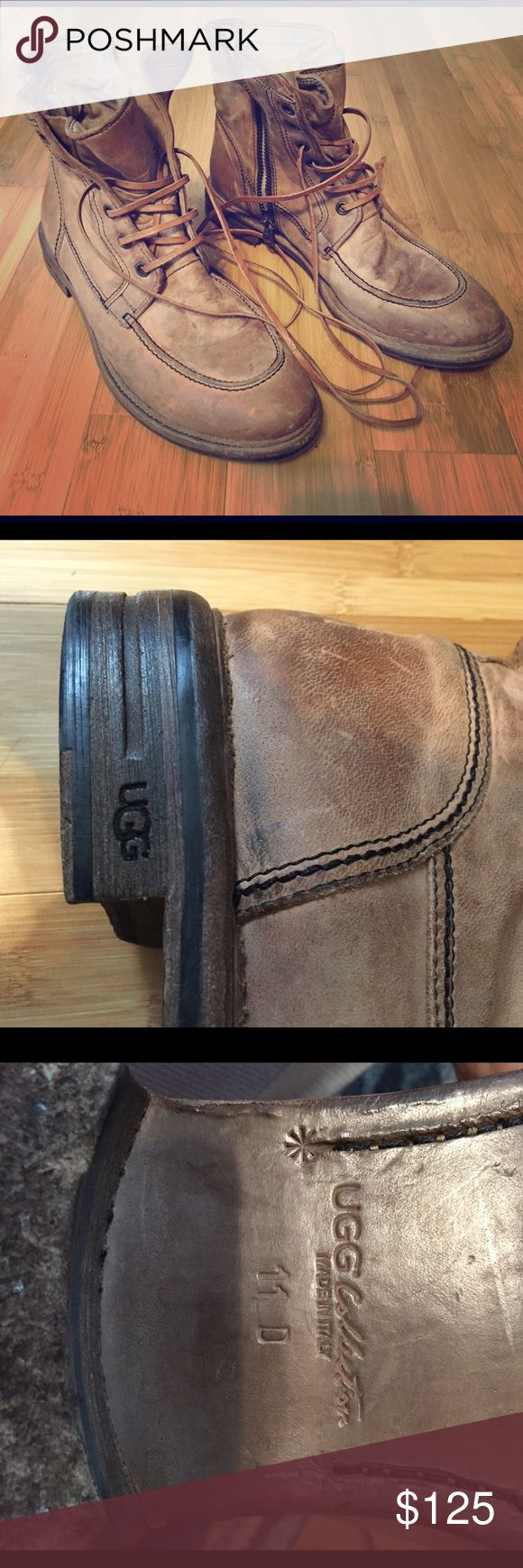 🙌🏼RARE🙌🏼 Men's UGG prototype - Italian Leather 🙌🏼RARE🙌🏼 Men's UGG Prototype Italian Leather sand color military style boots. These boots are seriously one of a kind! Side zipper and front tie access. Nice long leather shoe strings. Worn a couple times as you can see some scuffing on the wooden part of the sole but the rubber is virtually untouched. UGG Shoes Boots