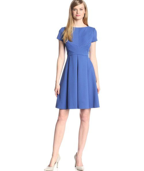 Gorgeous bright blue, knee length summer dress with short sleeves