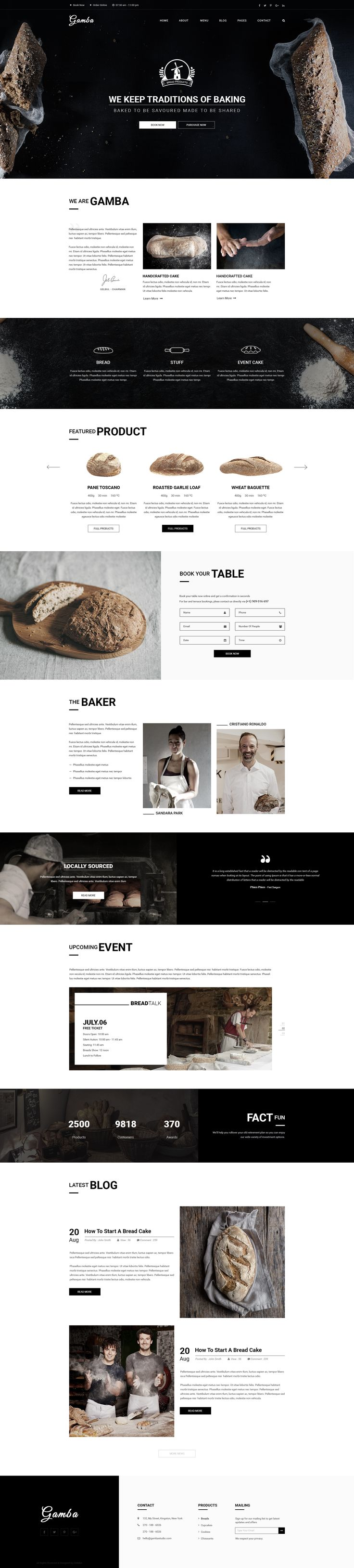 Gamba Bakery, Cakery, Pizza & Pastry Shop PSD Template • Download ➝…