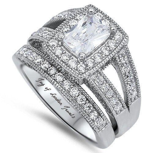 A Perfect 1.5CT Emerald Cut Halo Russian Lab Diamond Bridal Set Wedding Band Rings