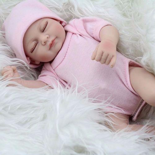 "11/"" Handmade Sleeping Newborn Baby Vinyl Full Body Silicone Reborn Doll Girl New"