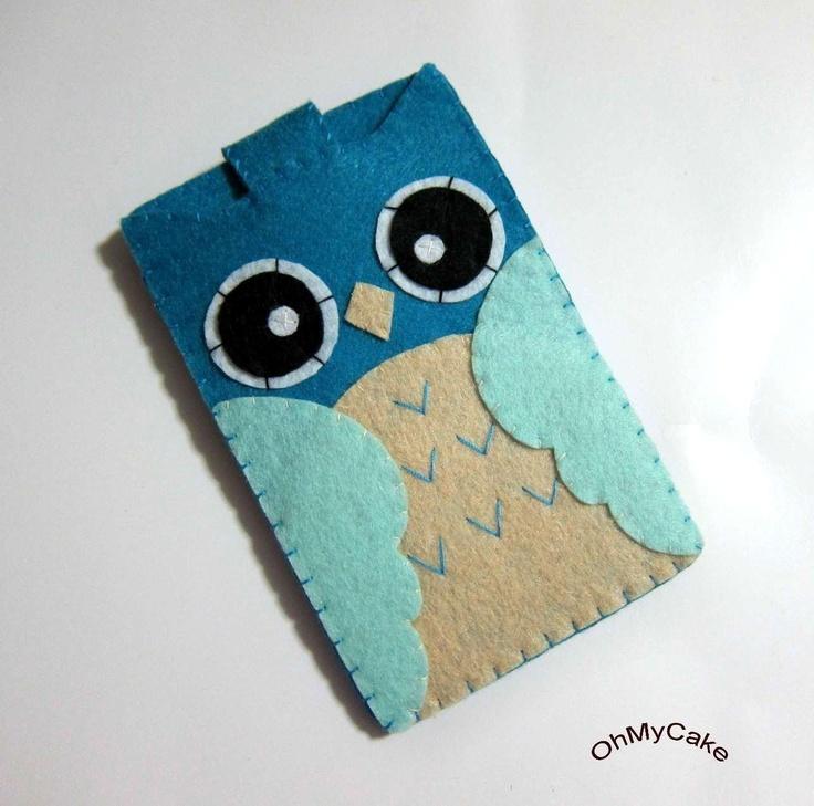 Handmade iPhone Felt Case - Blue Owl Design. $19.00, via Etsy.