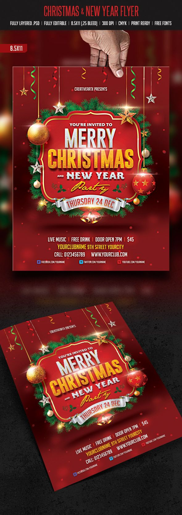Christmas & New Year Flyer on Behance