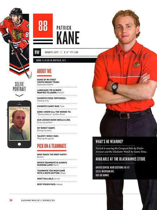 88 // PATRICK KANE - Blackhawks Magazine surveys 2014-15