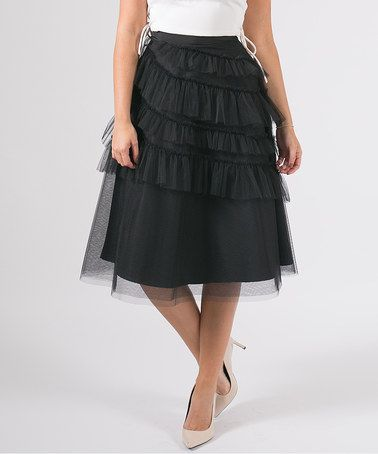 Another great find on #zulily! Black Ruffle Tulle Midi Skirt #zulilyfinds