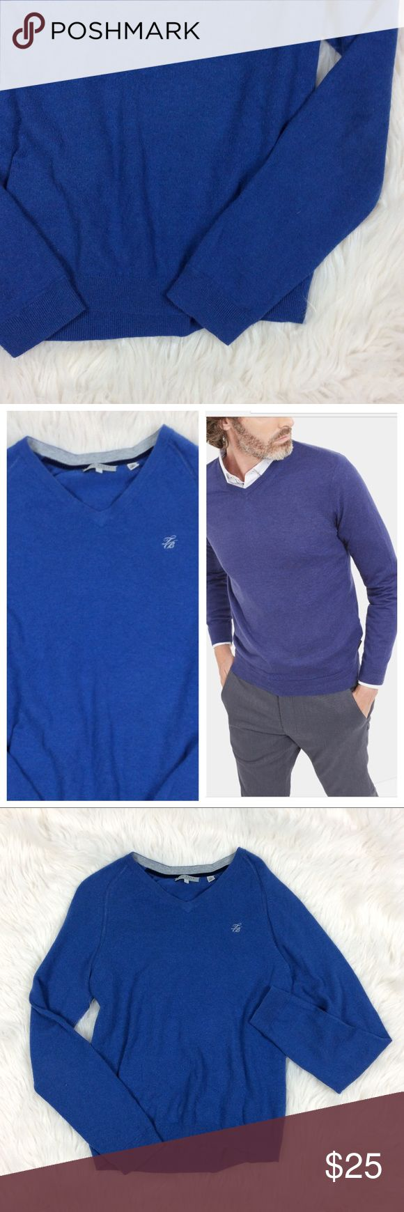 """Ted Baker London Wool Cashmere Blend Pullover Gently used good condition. Stock photo shows fit and style in different color without monogram. V-neck. Medium shade of blue. Very soft texture. Measurements approximately: shoulders 15"""" chest 36"""" sleeves 31"""" length 26  Ted Bake size 4 approximately US size medium/large. Slimmer fit Ted Baker London Shirts"""