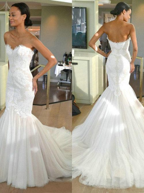 Mermaid Sweetheart Lace Top Tulle Wedding Gown Lace Mermaid