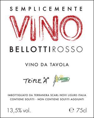 etichetta vino bellotti rosso - semplicemente vino