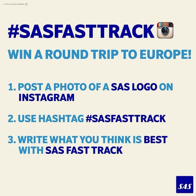 Yesterday we opened Fast Track for Arlanda domestic. Last week we opened SAS Fast Track for Bergen and earlier this year Stavanger and Trondheim got Fast Track.  We want to celebrate this with an Instagram-competition where you can win a roundtrip to Europe! This is how you participate: Upload a photo of a SAS-logo on Instagram, use hashtag #SASFASTTRACK and write what you think is the best with SAS Fast Track.