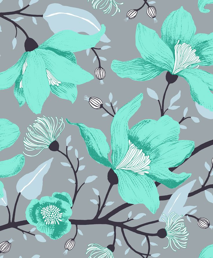 Clematis Turquoise  wallpaper by Vallila