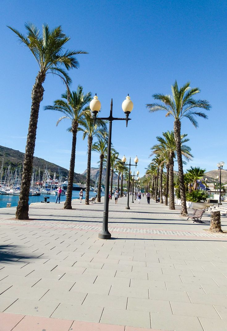 A peaceful walk along the waterfront in Cartagena, Spain.