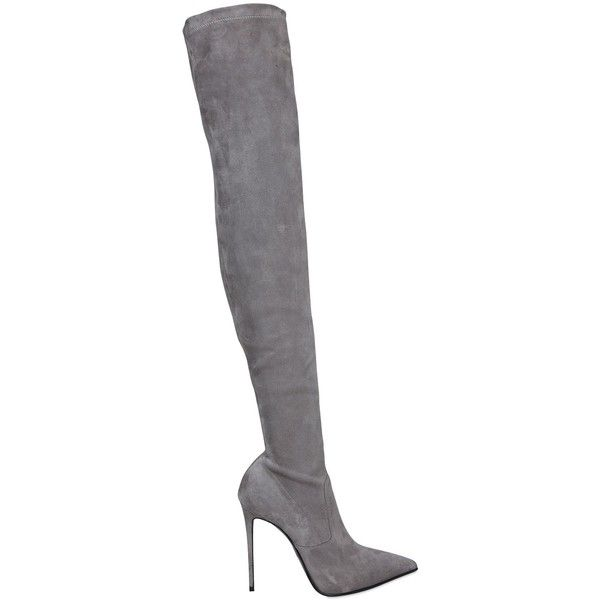 Le Silla Women 110mm Stretch Suede Over The Knee Boots ($1,150) ❤ liked on Polyvore featuring shoes, boots, heels, grey, high heel boots, gray suede boots, thigh-high boots, over-the-knee suede boots and over the knee platform boots