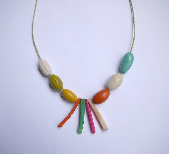 Bright multicoloured statement necklace of smooth by gtgadabout, $33.45
