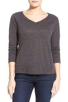 Halogen Zip Back V-Neck Sweatshirt (Petite)