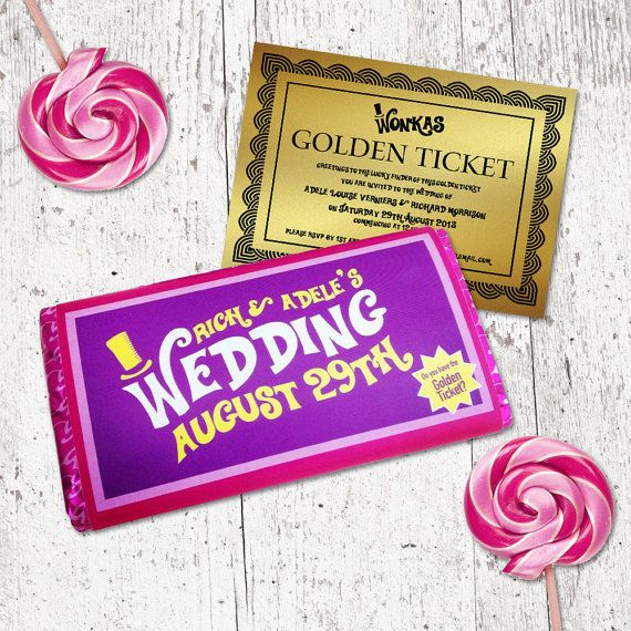 Willy Wonka Personalised Chocolate Bar Wrapper with Golden Ticket Invitation…