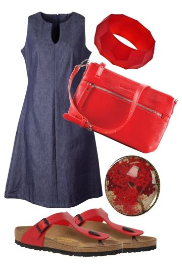 Kym's Red Punch Outfit includes Birkenstock, Nest Of Pambula, and Essaye - Birdsnest Buy Online