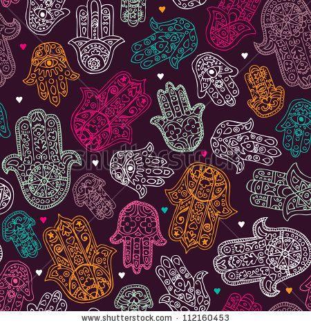 Seamless Arabic Hamsa Hand Of Fatima Illustration Background Pattern In Vector - 112160453 : Shutterstock
