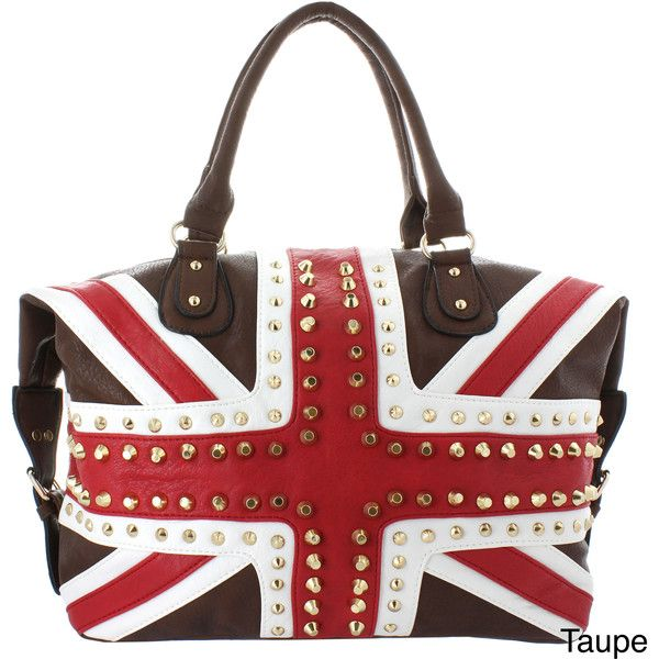 Oasis Handbag 'Gianna' Studded UK Flag Tote ($28) ❤ liked on Polyvore featuring bags, handbags, tote bags, blue, genuine leather tote, leather hand bags, leather zip tote, leather tote and zippered tote bag