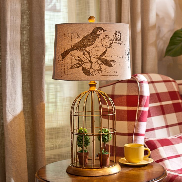 Creative Golden Metal birdcage Art Decor Led Table Lamp E14 Holder LED Bulb Desk Lamps,Bedside Home Lighting Fixtures