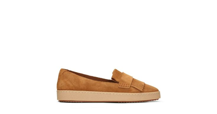 Lillia Lottie, women's loafers, tan suede - Taking on the popular loafer silhouette, our designers have given these shoes a casual appeal with the chunky, crepe effect sole unit. Crafted in soft tan suede, traditional details such as the fringing remain, while Cushion Soft™ foam layers and a padded collar ensure comfort is guaranteed.