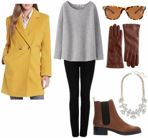 Wear a sophisticated Wool coat with dark denim, cozy sweater, simple booties and elegant accesories