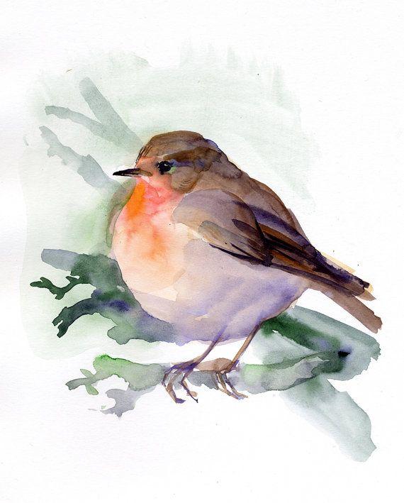 Impresión de red Robin, Robin, pintura, acuarela impresión de giclee de pájaro, regalo de los amantes de la aves