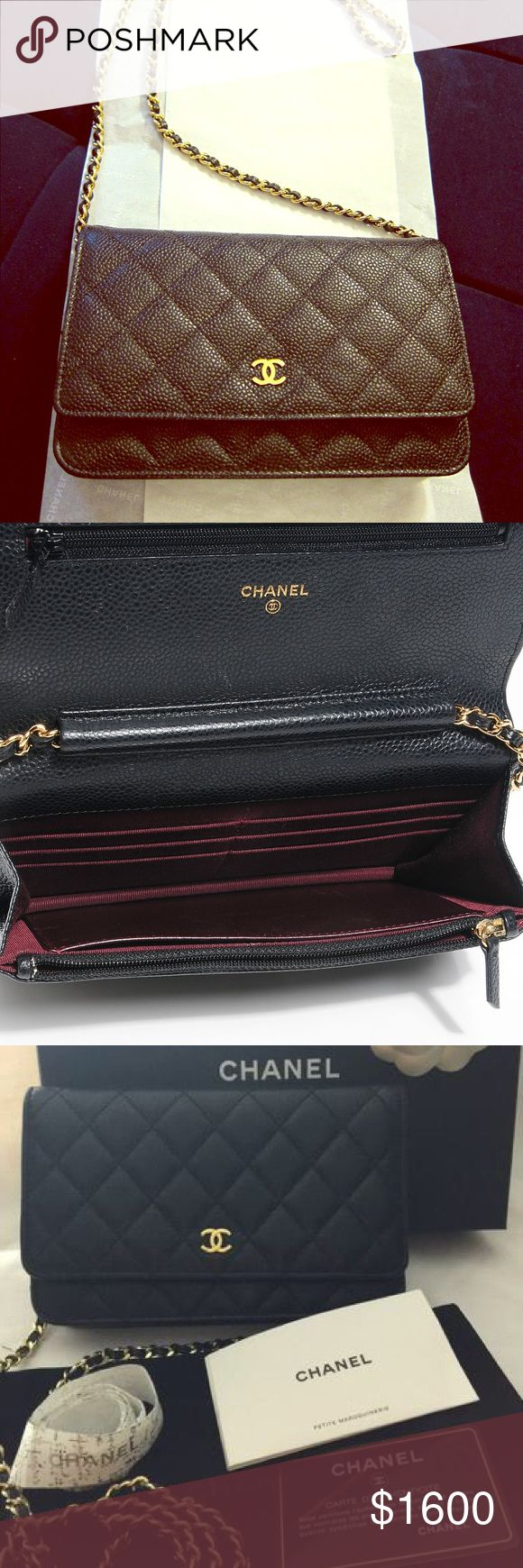 Chanel woc black caviar Auth Chanel woc black caviar gold chain comes with carebooklet and authentication card/ inquire before purchase and no trades CHANEL Bags Mini Bags