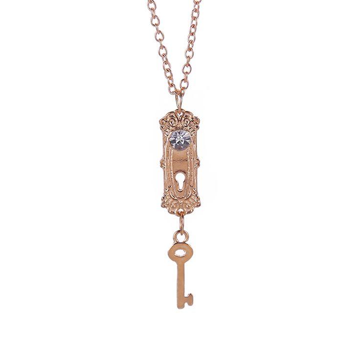 Alice en de las maravillas collar lock and key oro cristalino pendiente de la joyería para mujeres niñas dama amantes venta al por mayor en Collares de Joyería en AliExpress.com | Alibaba Group