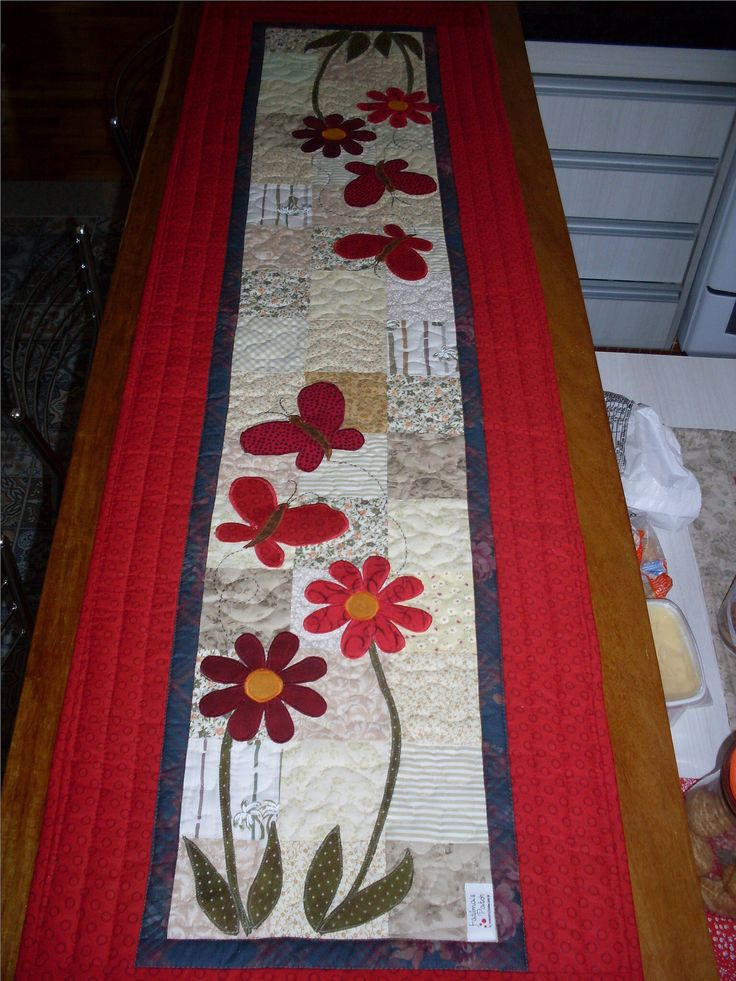 Flowers and Butterflies Table Runner