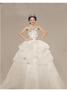 Glamorous & Dramatic Ball Gown Garden/Outdoor All Sizes Winter Spring Tiered Beading Wedding Dress