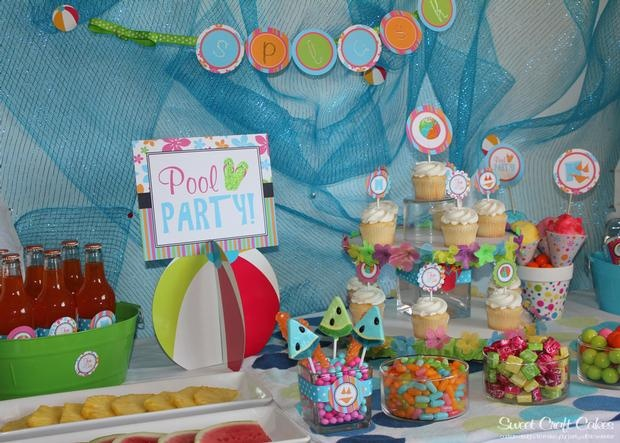 Pool Party food and beverage tableBeach Pools Parties, Kids Parties, Pool Parties, Birthday Parties, Summer Parties, Beverages Tables, Parties Ideas, Parties Decor, Parties Food