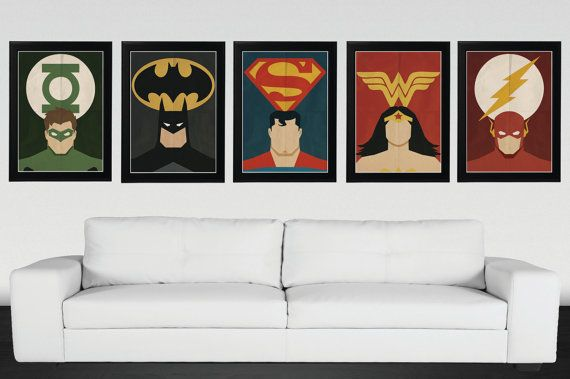Superhero, Justice League - Minimalist, Vintage,Retro Movie Poster 5 Set
