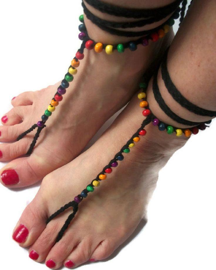 Rainbow Pride Barefoot sandals. Crochet,Beaded, Beach Yoga Festival Pool, Tribal anklet, Gay Pride by thekittensmittensuk on Etsy