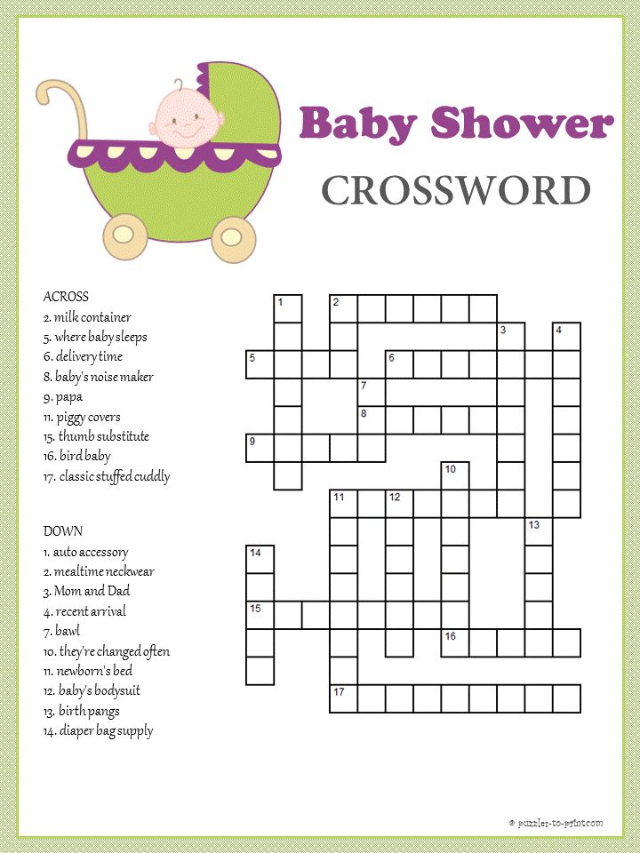 Baby Shower Crossword   Puzzles To Print