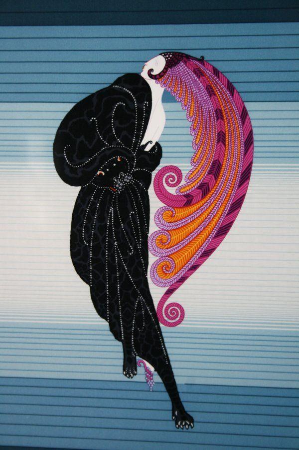 Deco Lady with Plumed Head Dress - by Erté aka Romain de Tirtoff (Russian, 1892-1990)