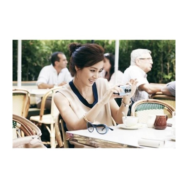 Kim Tae Hee poses in a quiet cafe in Paris found on Polyvore
