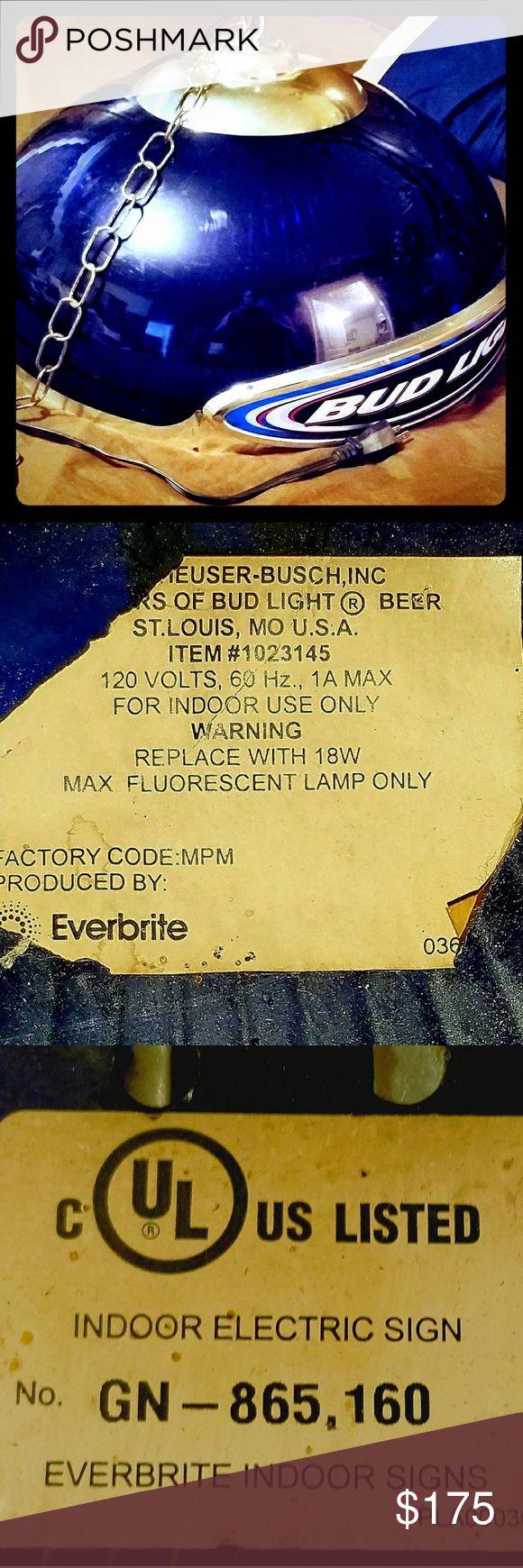 Vintage Bud Lite Indoor Light Produced By EverBrite Anheuser-Busch Inc. ITEM #1023145. 1A Max 120V. EverBrite No. GN-875,160 Bud Lite Other
